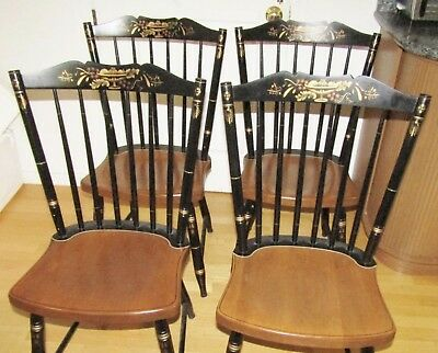 Hitchcock chair co black/harvest classic country side Chairs (4)