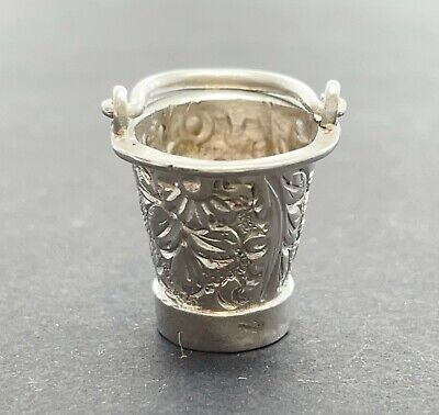 Antique Victorian Solid Silver Small Thimble Bucket Holder Case 1898