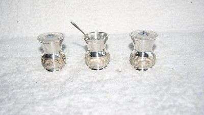 Victorian Silver Plated Salt & Pepper & Mustard Pots GEORGE CUTTS & SONS ENGLAND