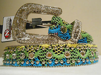 Reduced! Womens & Girls Nocona Belt Size 22  Turquoise, Green, Yellow Mix