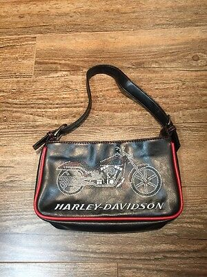 Harley Davidson Black PVC Purse Handbag With Motorcycle~bling~ Embroidered-small