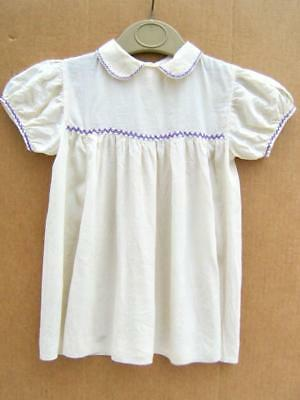 Silk baby dress,  hand made and embroidered Cream Ivory  Vintage