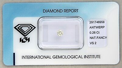 Natürlicher Diamant IGI 0,26ct Fancy Yellow - VS2 - 3,90mm - 3,96mm Brillant