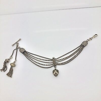 One Of The Best Antique Sterling Silver Double Tassel Albertina Albert Chain