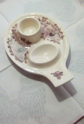 Vintage Jersey Pottery Egg Cup Plate with 2nd Egg Rest 1960s 1970s