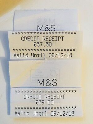 Marks And Spencer M&s Credit Vouchers - £116.50