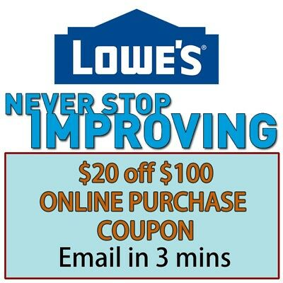 One(1x) Lowes $20 off $100- Lowe'sCoupon exp 12/17/17 (Online Use Only)
