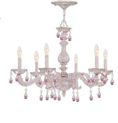 Crystorama 5036-AW-RO-MWP Sutton Chandeliers 28in Antique White Wrought Iron