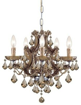 Crystorama 4405-AB-GTS Maria theresa Chandeliers 20in Antique Brass Glass