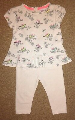Ted Baker Outfit 3-6 Months Top & Leggings Birds Pink