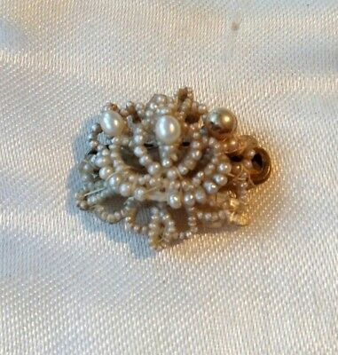 Antique Georgian Victorian Natural Seed Pearls Panel For Spare