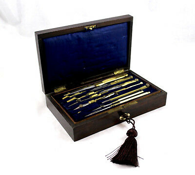 French Antique Drafting Set in Boulle Inlaid Box--Gift for Engineer, Architect