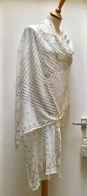 White + Silver Egyptian Assuit Shawl 1920'S. Clean. For Repair Or Costume Making
