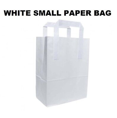 Small White Kraft Craft Paper Sos Carrier Bags Lunch Dinner Take Away Wholesale