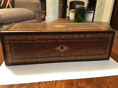 Antique Victorian Inlaid Walnut Glove Box