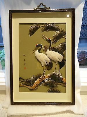 Vintage Oriental Framed Birds Picture Made With Feathers ( Rare )