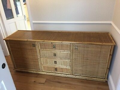 Huge Retro / Vintage Bamboo & Wicker Sideboard - Excellent Condition c.1970