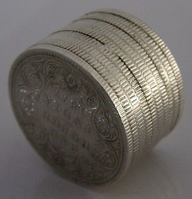 UNUSUAL ANGLO INDIAN SILVER ONE RUPEE SECRET COIN SNUFF BOX c1900 ANTIQUE