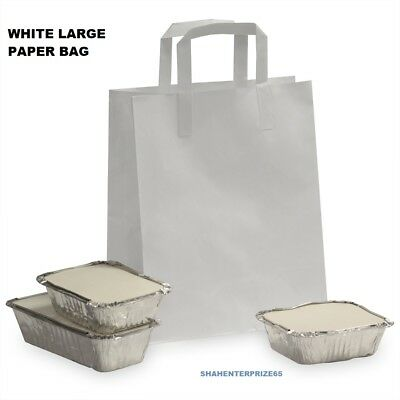 Large White Kraft Craft Paper Sos Carrier Bags Lunch Dinner Take Away Wholesale