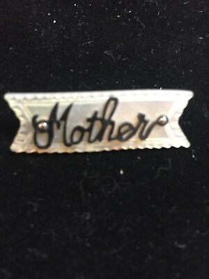 """Vintage Victorian Mother of Pearl Monogrammed """"Mother"""" Pin"""