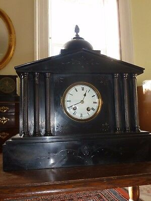 Large Victorian slate mantle clock