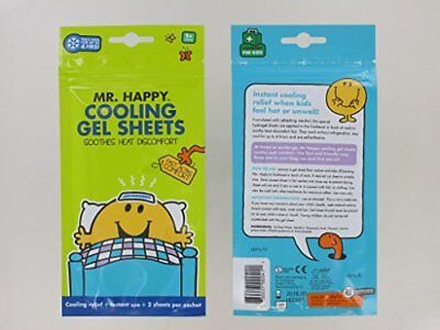 Mr Men Mr Happy Children's Cooling Gel Strips 2 Per Pack Fever Cool Soothe 1+Yrs