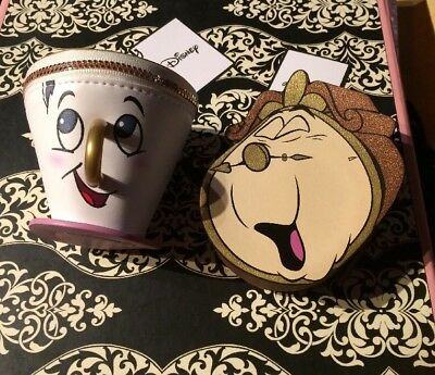 Primark Disney Beauty & The Beast Cogsworth Chip Cup Coin Purse Set New