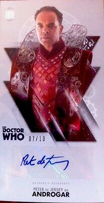 """TOPPS Dr Who  OVERSIZED 2.5 """"X 4.75"""" Autograph Auto Card #7/10 Peter De Jersey."""