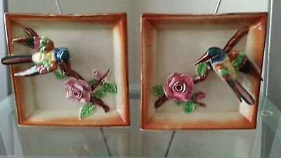 Pair Of Vintage Hummingbird Wall Pockets..rare