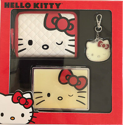 Hello Kitty - Loungefly - 3 pc Gift Set - Wallet, Charm, ID Case - New-FREE Ship