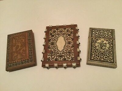 Antique lot of (3) Anglo Indian Card Cases C.1860 for Renovation