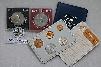 Uk Gb 2 Cased Crowns + Britain's First Decimal Coin Set A69 Cg46 - 3