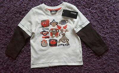 George Asda Cheeky Monkey Long  Sleeved Top Age  1 - 1 1/2 Years Brand New Tags