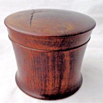 Antique Treen Pot or Powder Box Turned Wooden Close Fitting Lid Early 19th C