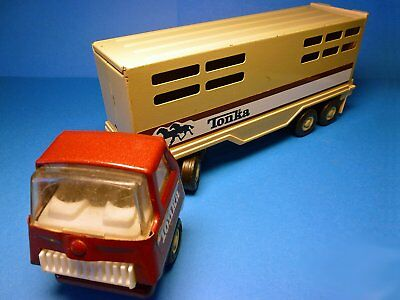 Ancien jouet 70 39 s old tin toy truck camion benne et tracto pelle tonka tole picclick fr - Camion benne tonka ...