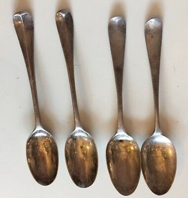Lot 4 Early Coin Silver Rat Tail Teaspoons Different Marks