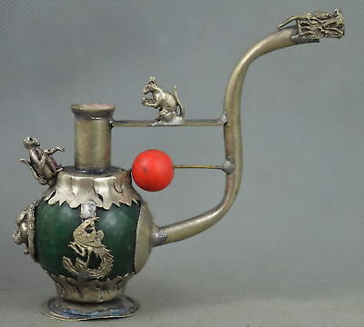 China Collectable Handwork Old Miao Silver Inay Agate Carve Dragon Smoking T00l