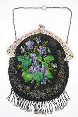 Charming Antique Micro Beaded Chatelaine Purse w Pansies & Sterling Frame