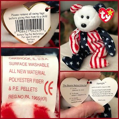 New Ty Rare And Retired Beanie Babies Spangle Patriotic Bear Baby White Face