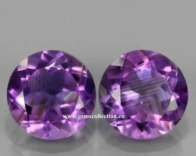 Aaa- Ametista - Natural Amethyst Ct 7.18 Vs  Pair Round Cut Purple Color Brazil