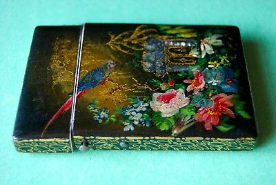 Antique Victorian Mop Lacquer Gold Painted Card Case Birds Flowers
