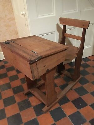 Vintage Retro Old School Desk, Seat, Hinged Lid, Inkwell, Stationery Storage