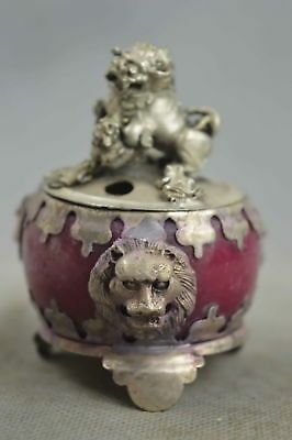 Collectable Handwork Old Miao Silver Carve Lion Inlay Agate Lucky Incense Burner