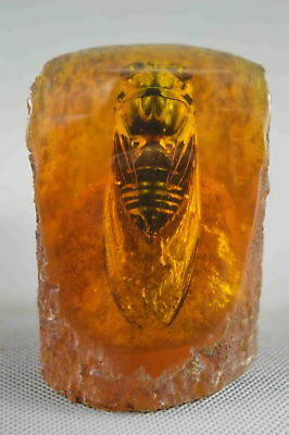 Collectable Handwork Decor Old Inside Amber Inlay Cicada Buddhism Lucky Statue
