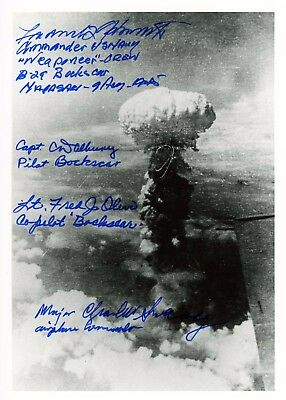 BOCKSCAR Atomic Mission Flight Crew Autographed Mushroom Cloud Siged by Four!