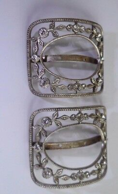Pair of antique French shoe buckles set with diamante. Marked 'FRANCE'.