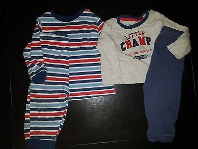 boys 6-9-12 months pyjamas set sleepsuits top bottoms bundle stripped champ next