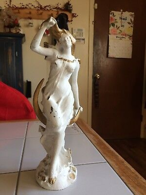 19 th Cent. Art Nouveau French Spelter  Statue/Lamp base W Foundry Plate