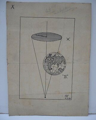 Old Earth & Sundial Hand Drawn Diagram by Dan Jones (Cardiff Observatory) 1927