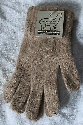 Alpaca Gloves - (Made in USA) Size Small Brown